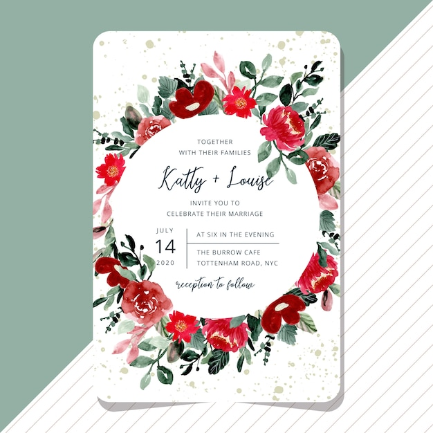 Wedding invitation with beautiful red floral watercolor card Premium Vector