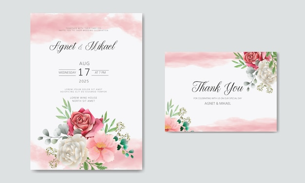 Wedding invitation with beautiful and romantic flowers Premium Vector