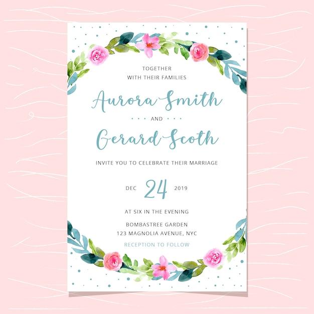 Wedding invitation with beautiful watercolor floral border Premium Vector
