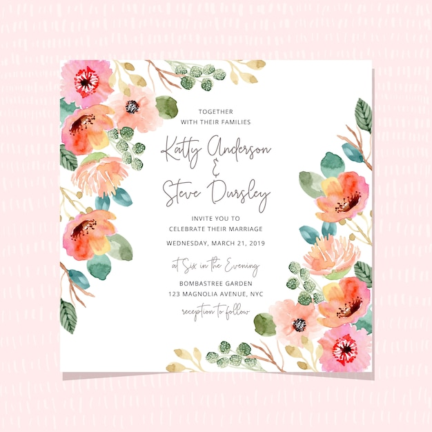 Wedding invitation with beautiful watercolor floral frame Premium Vector
