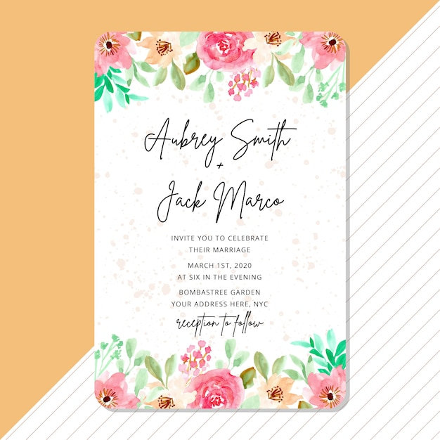 Wedding invitation with beautiful watercolor flower frame Premium Vector