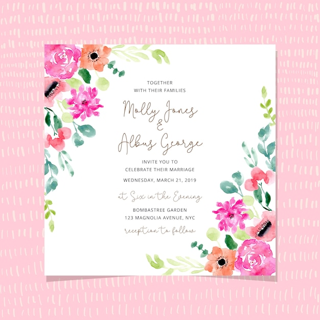 Wedding invitation with blossom floral frame watercolor Premium Vector