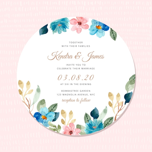 Wedding invitation with blue pink floral frame watercolor Premium Vector