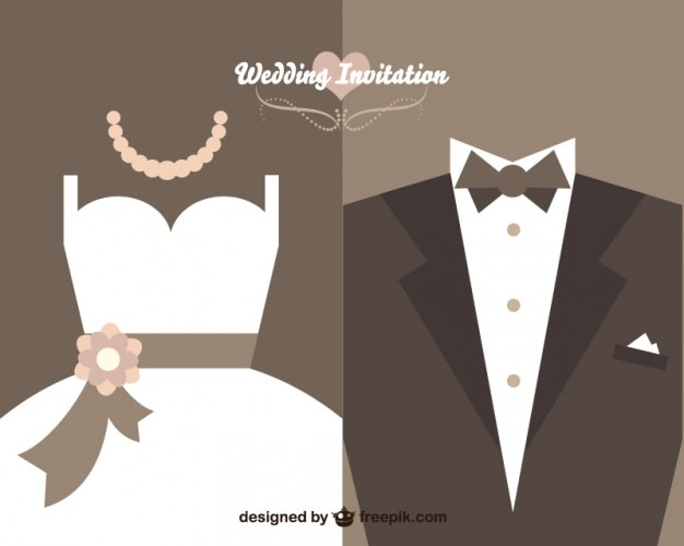 wedding invitation with bride dress and wedding suit free vector