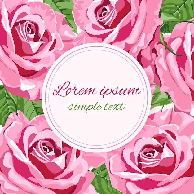 明るいピンクのバラとラウンドフレームの結婚式の招待状 Premiumベクター