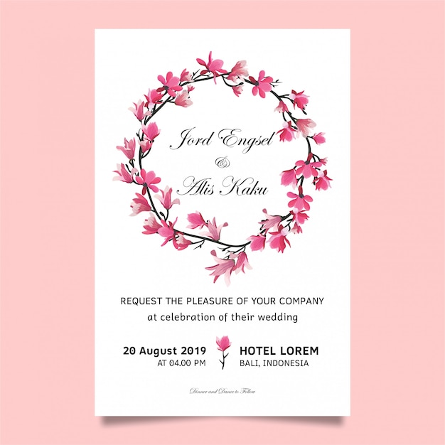Wedding invitation with cherry blossoms Premium Vector