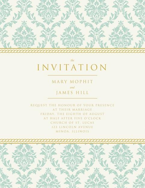 Wedding invitation with classic decoration Premium Vector