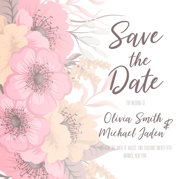Wedding invitation with colorful flower. Premium Vector