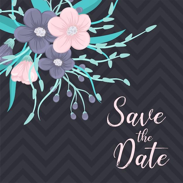 色とりどりの花で結婚式の招待状。 Premiumベクター