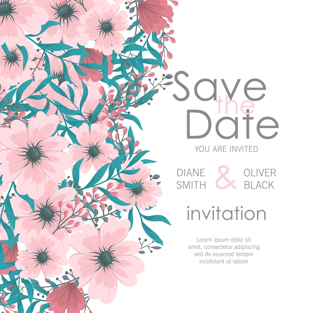 Wedding invitation with colorful flower. Free Vector