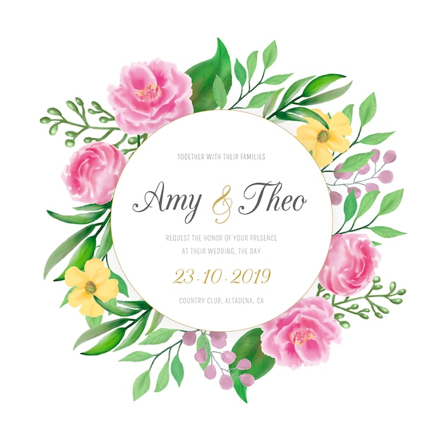 Wedding invitation with colorful watercolor flowers Free Vector
