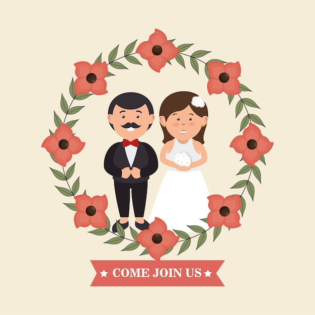 Wedding invitation with couple and crown flowers design Premium Vector