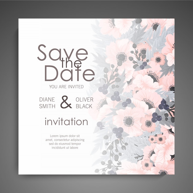Wedding invitation with cute flowers Free Vector