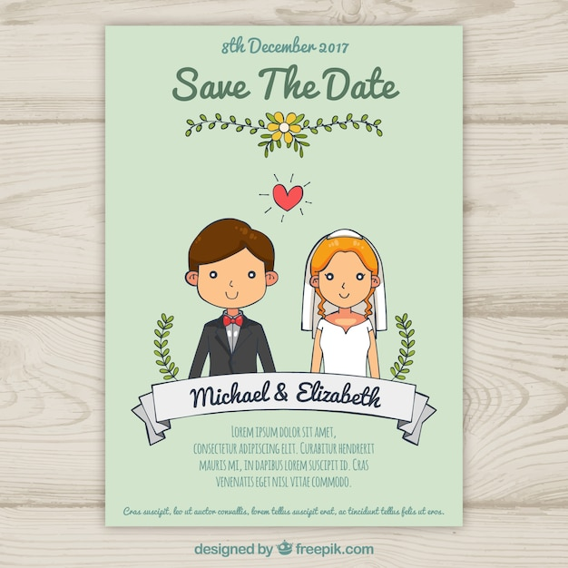 wedding invitation with cute hand drawn couple vector free download