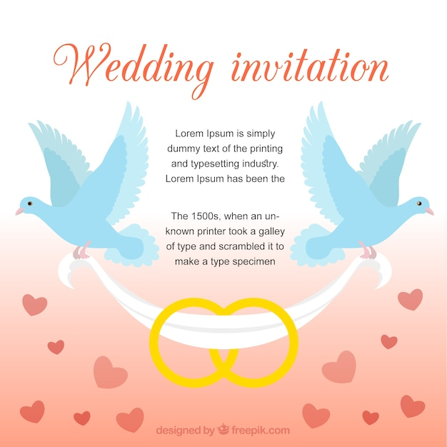 Wedding Invitation With Doves Free Vector