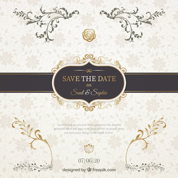Wedding invitation with elegant black ribbon Free Vector