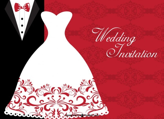 Wedding invitation with elegant bride dress and wedding suit Free Vector