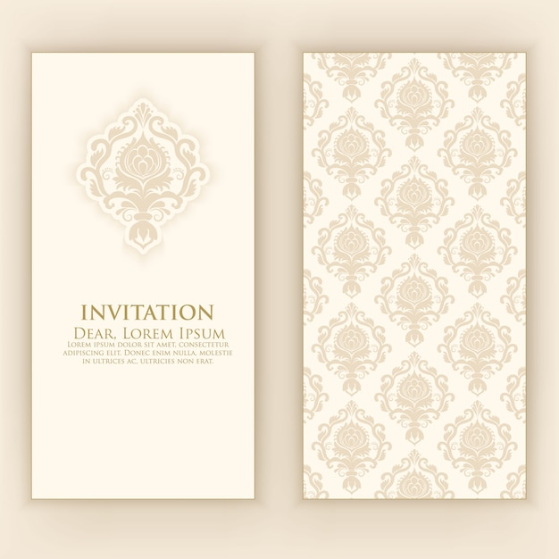 Wedding invitation with elegant damask decoration Free Vector