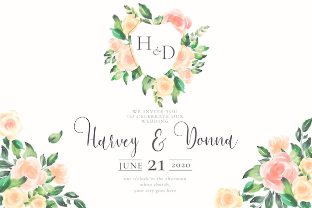 Wedding invitation with emblem and monogram Free Vector