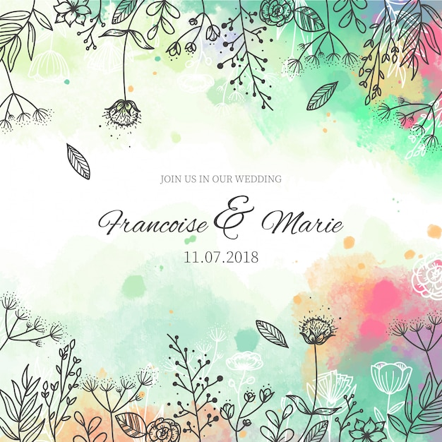 wedding invitation with floral background in watercolor style vector