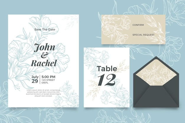 Wedding invitation with floral design Free Vector