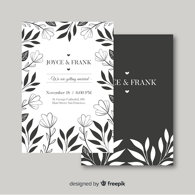 Wedding invitation with floral elements Vector | Free Download