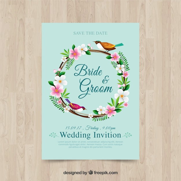 Wedding invitation with floral frame and bird vector free download wedding invitation with floral frame and bird free vector stopboris Images