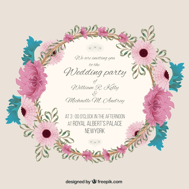 Wedding invitation with floral frame Vector Free Download