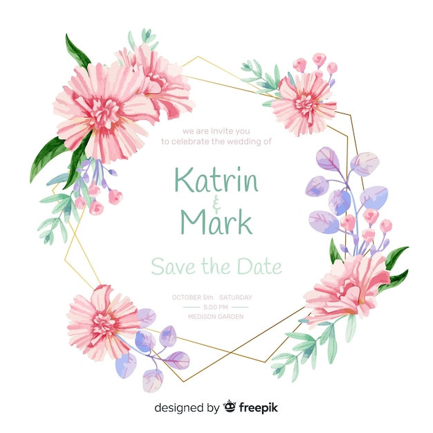Wedding invitation with floral frame Free Vector