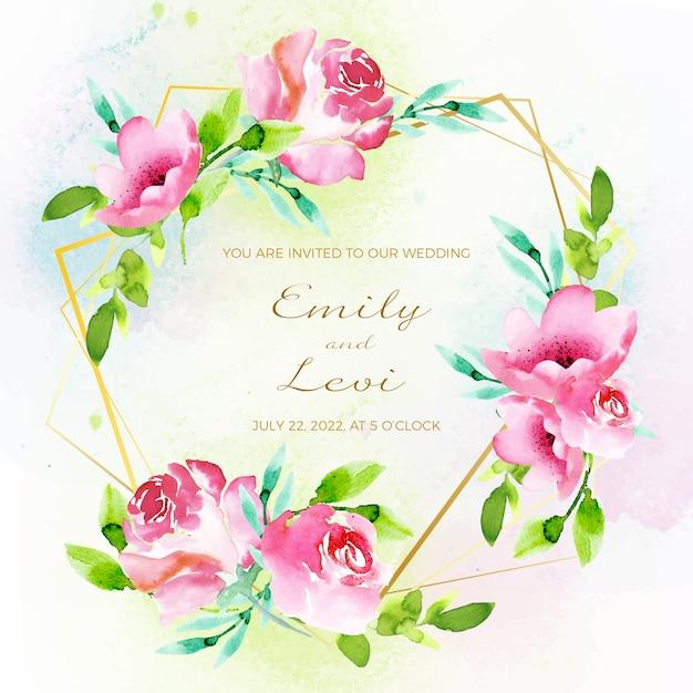 Invito a nozze con cornice floreale Vettore gratuito