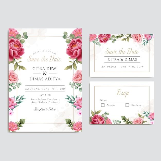 Свадебные приглашения с цветочным орнаментом и золотой рамкой Premium векторы