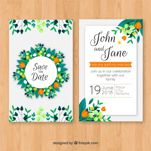 Wedding invitation with floral ornaments in flat style vector free wedding invitation with floral ornaments in flat style free vector stopboris Choice Image