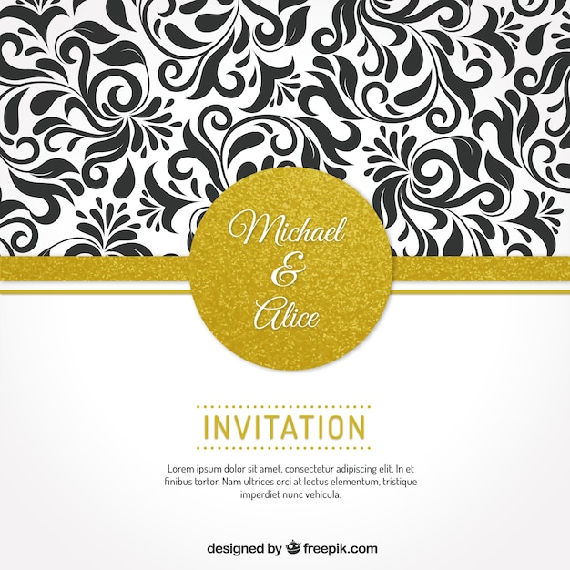 Wedding invitation with floral ornaments vector premium download wedding invitation with floral ornaments premium vector stopboris Gallery