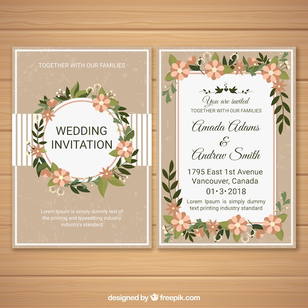 Wedding invitation with floral ornaments Free Vector