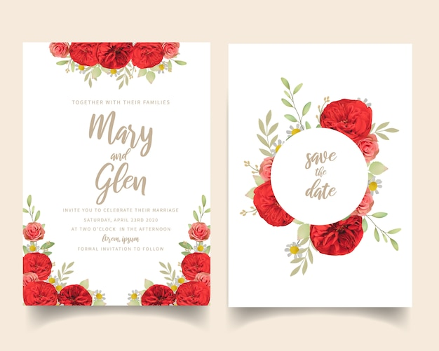 Wedding invitation with floral red roses Premium Vector