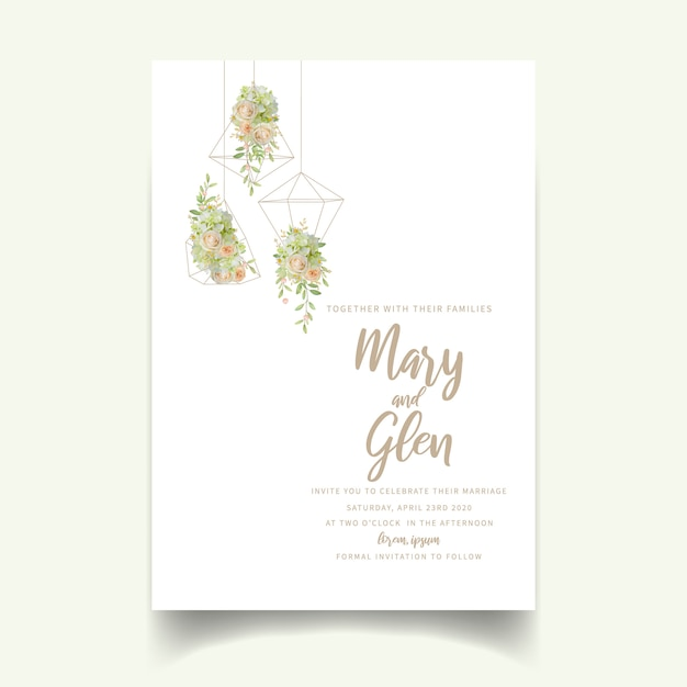 Wedding invitation with floral roses and hydrangea Premium Vector