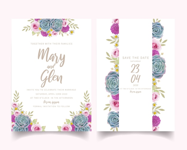 Wedding invitation with floral roses and succulent Premium Vector