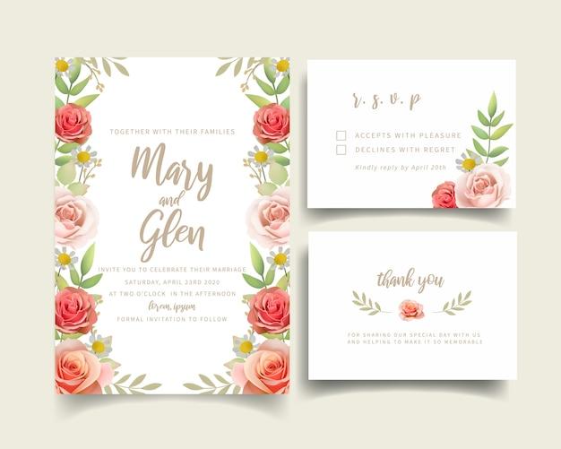 Wedding invitation with floral roses Premium Vector