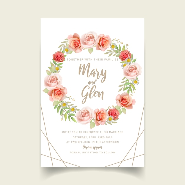 Wedding invitation with floral roses Premium Vector
