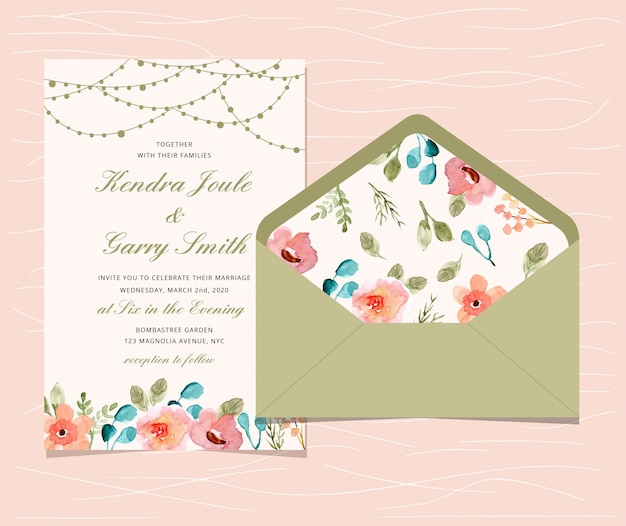 Wedding invitation with floral and string light background Premium Vector