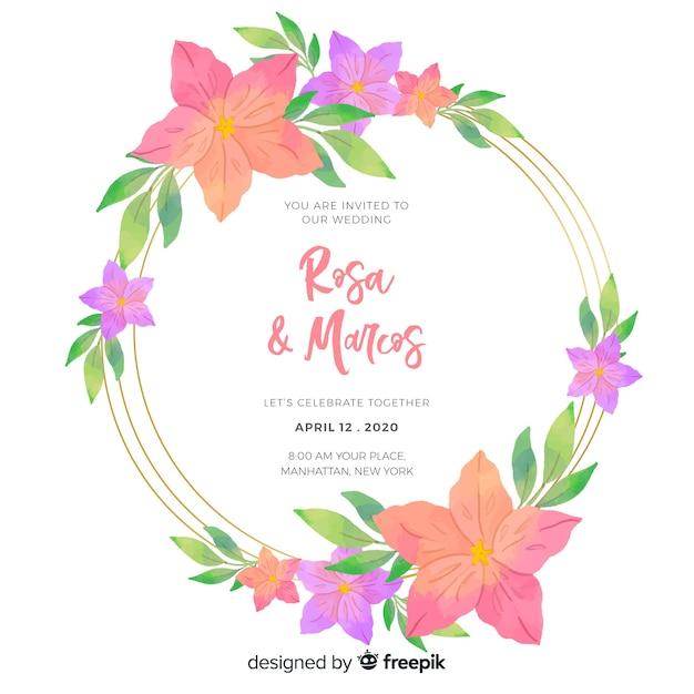 Свадебные приглашения с цветочной тематикой Бесплатные векторы