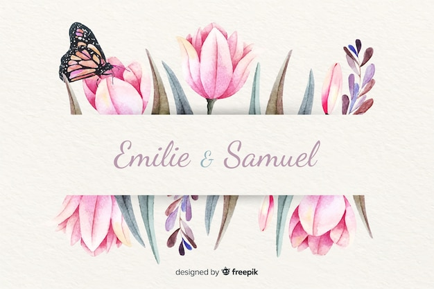 Wedding invitation with floral watercolor background Free Vector