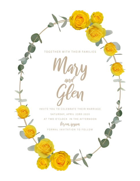 Wedding invitation with floral yellow roses Premium Vector