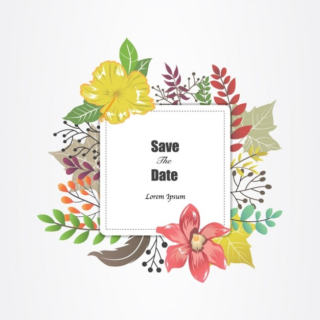 Flower Svg Library Download For Wedding Invitations: Wedding Invitation With Flower Frame Vector