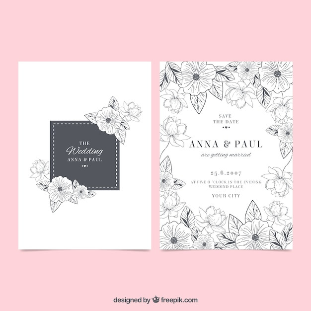 Wedding invitation with flower sketches Free Vector