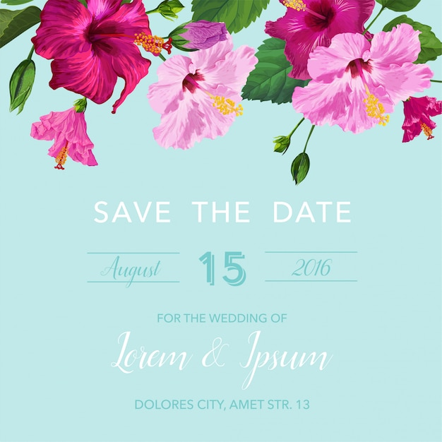 Wedding invitation with flowers. save the date card Premium Vector