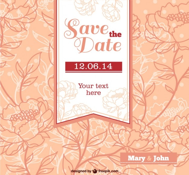 Flower Svg Library Download For Wedding Invitations: Wedding Invitation With Flowers Vector
