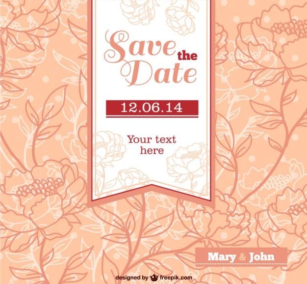 Wedding Flowers Vector Free Download : Wedding invitation with flowers vector free download