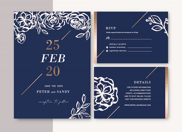 Wedding invitation with foliage romantic, creative flower watercolor Free Vector