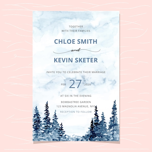 Wedding invitation with forest watercolor background Premium Vector